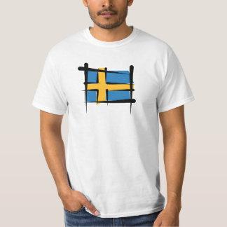 Sweden Brush Flag T-Shirt