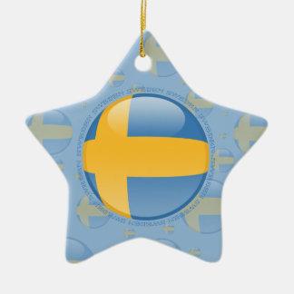 Sweden Bubble Flag Ceramic Star Decoration