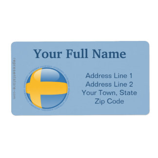 Sweden Bubble Flag Shipping Label
