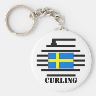 Sweden Curling Key Ring