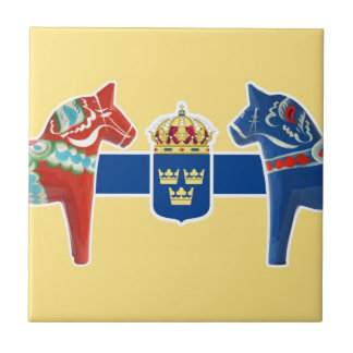 Sweden Dala Coat of Arms Small Square Tile