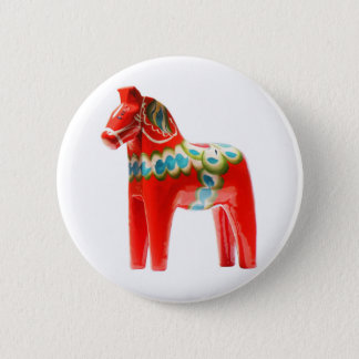 Sweden Dala Horse 6 Cm Round Badge