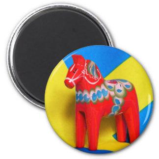 Sweden Dala Horse 6 Cm Round Magnet