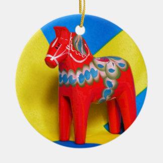 Sweden Dala Horse Round Ceramic Decoration