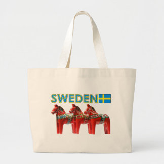 Sweden Dala Horses Large Tote Bag