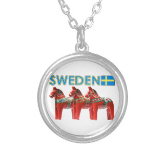 Sweden Dala Horses Silver Plated Necklace