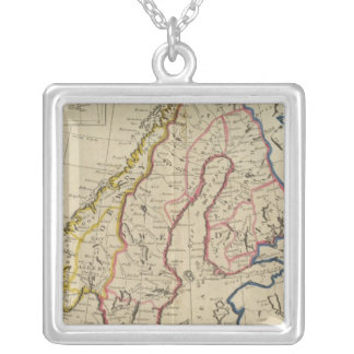 Sweden, Denmark, Norway and Finland 2 Silver Plated Necklace