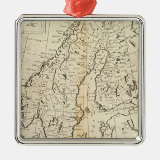 Sweden, Denmark, Norway and Finland Silver-Colored Square Decoration