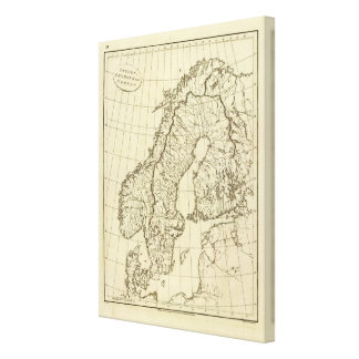 Sweden, Denmark, Norway outline Canvas Print