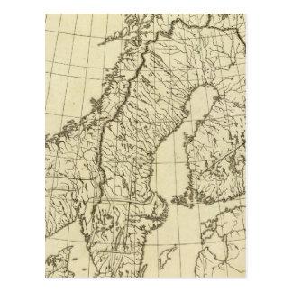 Sweden, Denmark, Norway outline Postcard