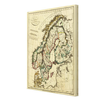 Sweden, Denmark, Norway with boundaries outlined Canvas Print