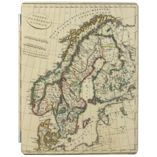 Sweden, Denmark, Norway with boundaries outlined iPad Cover