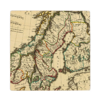 Sweden, Denmark, Norway with boundaries outlined Wood Coaster