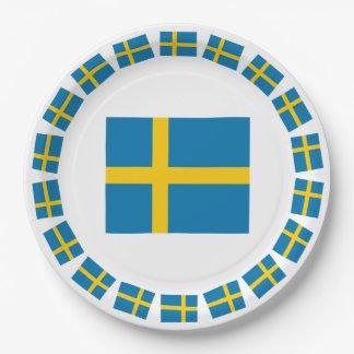 SWEDEN FLAG 9 INCH PAPER PLATE