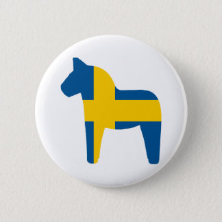Sweden Flag Dala Horse 6 Cm Round Badge