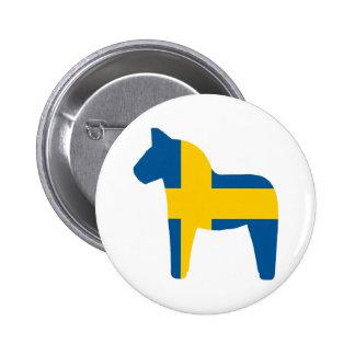 Sweden Flag Dala Horse 6 Cm Round Badge