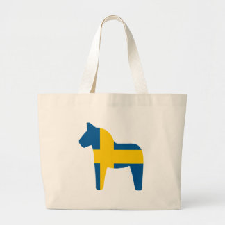 Sweden Flag Dala Horse Large Tote Bag