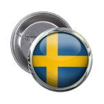 Sweden Flag Glass Ball 6 Cm Round Badge