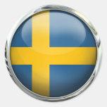 Sweden Flag Glass Ball Round Sticker