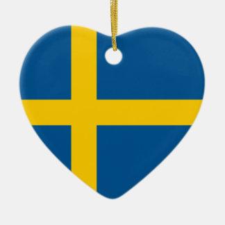 Sweden Flag Heart Ornament