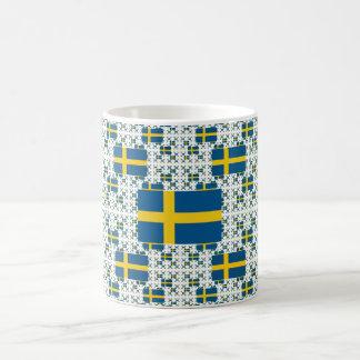 Sweden Flag in Multiple Layers Basic White Mug