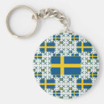 Sweden Flag in Multiple Layers Key Chain