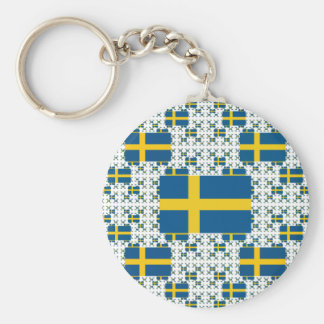 Sweden Flag in Multiple Layers Key Ring