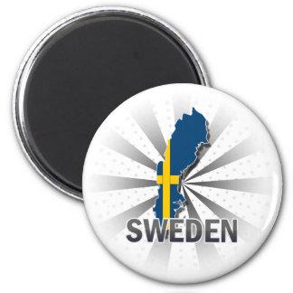 Sweden Flag Map 2.0 6 Cm Round Magnet