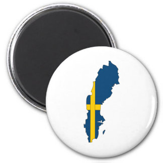 Sweden Flag Map full size 6 Cm Round Magnet