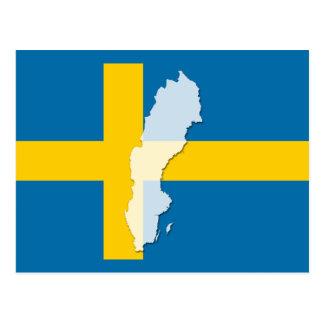 Sweden flag map outline postcard