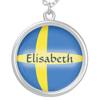 Sweden Flag + Name Necklace