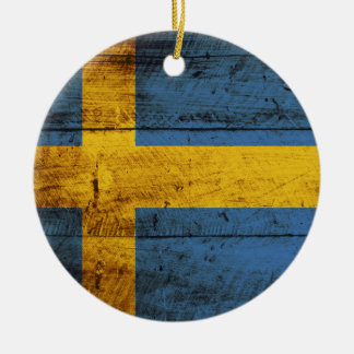 Sweden Flag on Old Wood Grain Christmas Ornament