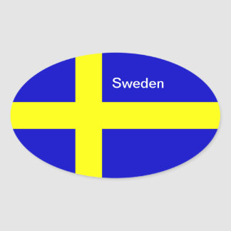 Sweden flag oval stickers
