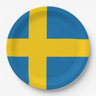 Sweden flag quality paper plate