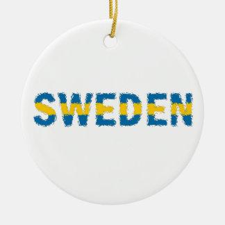 Sweden (flag) round ceramic decoration