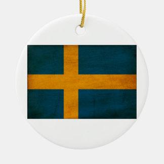 Sweden Flag Round Ceramic Decoration