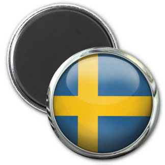 Sweden Flag Round Glass Ball 6 Cm Round Magnet