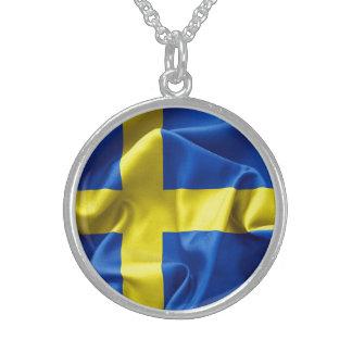 Sweden Flag Round Pendant Necklace