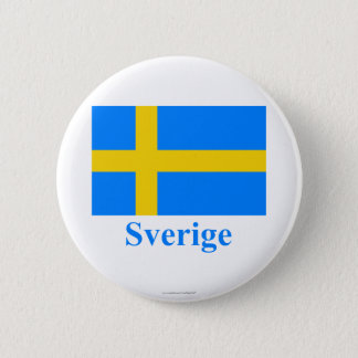 Sweden Flag with Name in Swedish 6 Cm Round Badge
