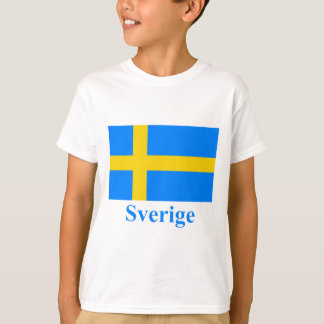 Sweden Flag with Name in Swedish T-Shirt