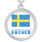 Sweden Flag & Word Silver Plated Necklace