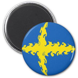Sweden Gnarly Flag 6 Cm Round Magnet