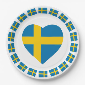 SWEDEN HEART SHAPE FLAG 9 INCH PAPER PLATE