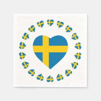 SWEDEN HEART SHAPE FLAG DISPOSABLE NAPKIN