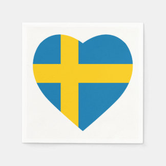 SWEDEN HEART SHAPE FLAG DISPOSABLE SERVIETTES