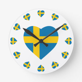 SWEDEN HEART SHAPE FLAG ROUND CLOCK