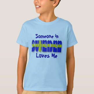 Sweden in Flag Lettering Tee Shirts