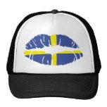 sweden kiss lipstick flag trucker hat