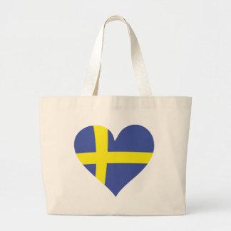 sweden love heart - swedish flag large tote bag