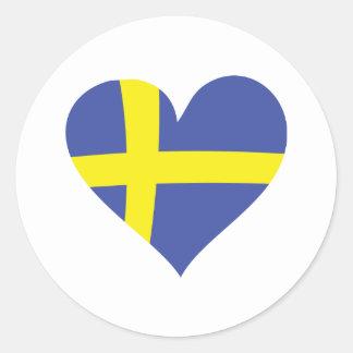 sweden love heart - swedish flag round sticker